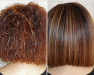 Woman Before and After Keratin Smoothing